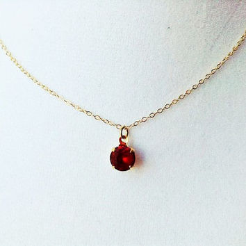 Ruby necklace, ruby pendant necklace, ruby jewelry, tiny pendant necklace, ruby jewelry, siam ruby necklace