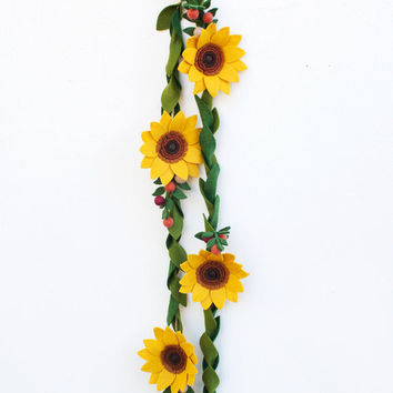 Felt Sunflower Garland - Holiday and Home Decor