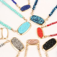Druzy Quarts Crystal Bead Necklaces with stud Earring