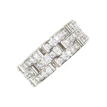 Cartier Diamond Maillon Panther Three Row 18 Karat White Gold Band Ring Size 54