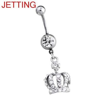 ac PEAPO2Q Belly Button Ring Women Imperial Crown Navel Surgical Steel Bar Silver Color Body Piercing Jewelry
