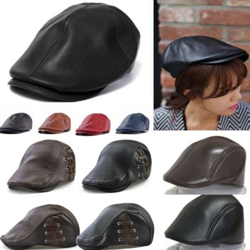 Men PU Leather Flat Ivy Cap Women Newsboy Gatsby Bonnet Cabbie Golf Beret Hat