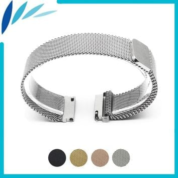 Stainless Steel Watch Band 16mm 18mm 20mm 22mm 23mm for Fossil Magnetic Clasp Strap Quick Release Loop Wrist Belt Bracelet Black