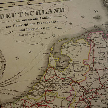 1859 Antique railway highway map of Germany Poland Holland old vintage maps rail alte historische Eisenbahnlinien Eisenbahnkarte karte