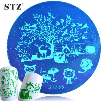 1PCS NEW NAIL STAMP PLATE NEW Animal Home Forest Owl Printing Templates Nail Stamping Manicure Accessory STZ22