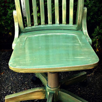 Rustic Wooden Chair - Hand Painted, Distressed, Upcycled - Office, Lounge, Dining, Studio - Greens, Mint, Brown, Tan, Stained, Glossed