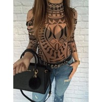 2017 summer Sexy Elegant Women Tattoo Totem Printed Jumpsuits Romper Long Sleeve Slim Perspective Bodysuit Overalls Playsuit