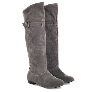 Knee-High Boots With Buckle Strap and Slip-On Design