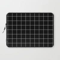 Black White Grid Laptop Sleeve by Beautiful Homes | Society6