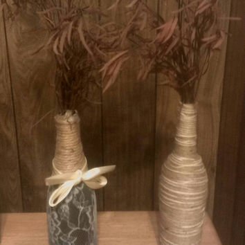 Upcycled wine bottle vase, glass vase, twine wrapped vase, jute and lace, rustic decor, home decor, upcycled decor, gift idea