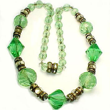 Vintage Green Crystal Bead Necklace - Rhinestone Accents