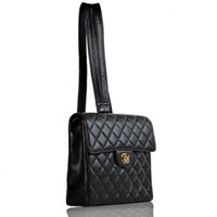 Chanel Black Quilted Caviar Convertible Backpack