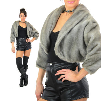 Gray Faux Fur Jacket Vegan Winter Coat Vintage 80s Bohemian Capelet Glam Rock Animal Fuzzy crop Jacket Mod 80s Hipster Boho Stole Medium