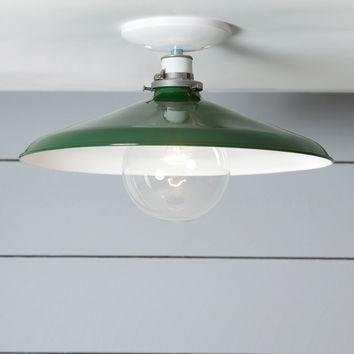 Industrial Ceiling Mount light - 14in Green Metal Shade Lamp - Semi Flush Mount