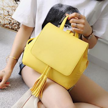 Lydian Candy Color Designer Lady Women PU Backpack New Summer Yellow Travel Bag String Tassel School Bags For Teen Girls Student