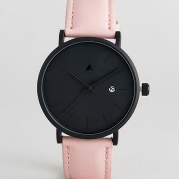 ASOS Premium Black Face & Blush Leather Watch at asos.com