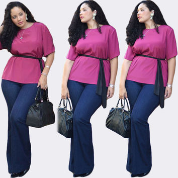 Purple Waist Tie Chiffon Top