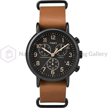 Timex Weekender® Chrono Oversized Watch - Black Dial/Brown Strap