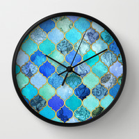 Cobalt Blue, Aqua & Gold Decorative Moroccan Tile Pattern Wall Clock by Micklyn
