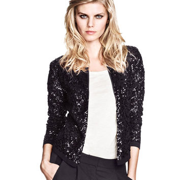 Black Sequined Crop Coat