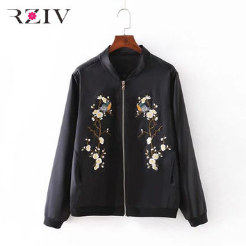 RZIV Women bomber jacket 2016 Casual systemic tree flowers embroidered flight female jacket and women coat spring jacket