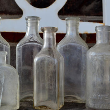 Six Clear Glass Apothecary Jars from 1930-40's