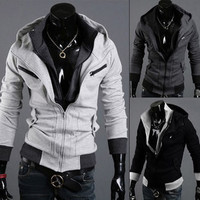 Men Hoodies Stylish Hats Long Sleeve Jacket [6528702851]