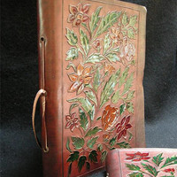 FLOWER GARDEN Leather Handmade Journal Diary Sketchbook - Pages of Unlined Cartridge Drawing Paper - Freepost UK