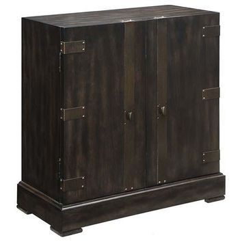 Empire 2 Door Cabinet With Burnished Brass Hardware In Rich Jacobean Finish By Crestview Collection Cvfzr2207