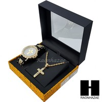 MEN ICED OUT TECHNO PAVE GOLD CROSS WATCH & PENDANT ROPE CHAIN NECKLACE SET SS83