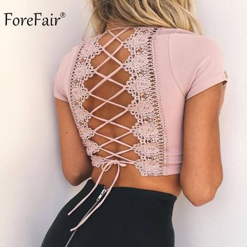Backless Criss-Cross Lace Up Short Sleeve Crop Top