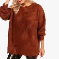 Emily Distressed Oversized Jumper | Boohoo