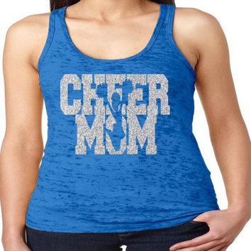 Cheer Mom Glitter Racerback Burnout Tank
