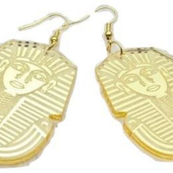 King Tut Earrings - Gold mirror style | Egypt Earrings | Egyptian Earrings | Tutankhamun Jewelry