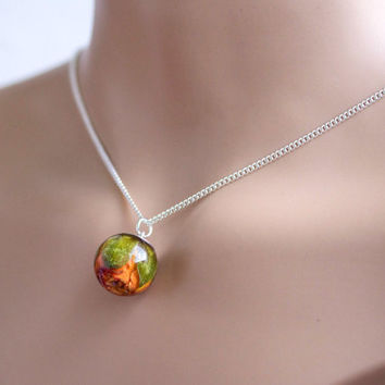 Rosebud Necklace, orange rose Resin Pendant real flower, real rosebud resin, pendant rose bud, rose jewelry, dried flower rosebud orange