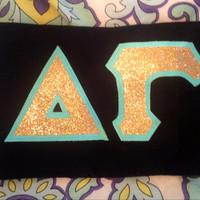 Custom glitter greek letter sorority tee shirt