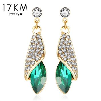 17KM 4 Colors Gold Color Luxury Brand Women Geometric Crystal Tear Drop Long Wedding Earrings Charm Romantic Brincos Earring