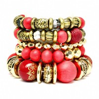 Kayli's Red Wood & Gold Beaded Stretch Bracelet Set - As Seen In 303 Magazine