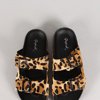 Qupid Laudy-05 Leopard Buckled Open Toe Flat Sandal