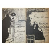 Pre-owned French Art Nouveau Song Sheets - A Pair