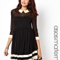 ASOS Maternity Skater Dress in Mesh with Contrast Detail and 3/4 Sleeve at asos.com