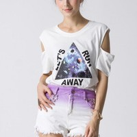 Triangle Print Cut Out T-shirt in White - Retro, Indie and Unique Fashion