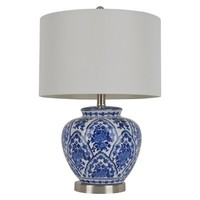 "Ceramic Table Lamp - 20""H - Blue/White"