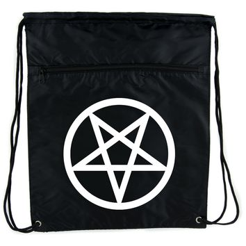 White Inverted Pentagram Cinch Bag Drawstring Backpack Goth Punk Occult