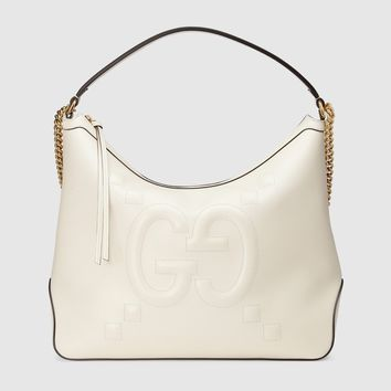 Gucci Women's Original Large Leather Embossed GG Hobo Bag, White, MSRP $2,490