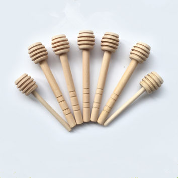 50pcs/lot Mini Wooden Honey Stick Wood Honey Spoon Stick Honey Dipper Honey Stirring Bar Party Supply