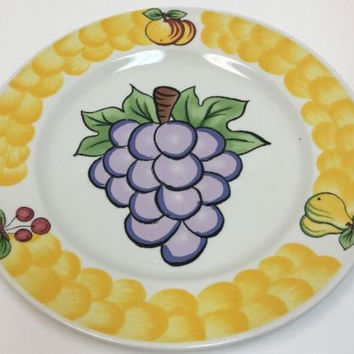 Tabletops Unlimited Italian Assorted Fruit Hand Painted 4 Dinner Plates 4 Mugs