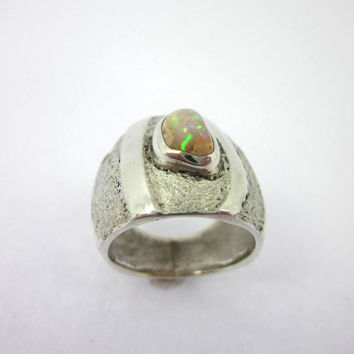 Fire Opal Ring, Women's Opal Jewelry, Cantera Opal Ring, Mexican Opal, Size 4