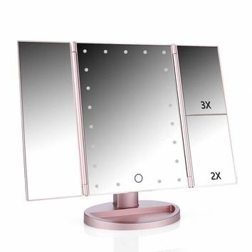 Touch Screen LED Tri-Fold Vanity Makeup Mirror