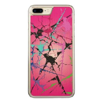 colorful abstract pattern,with pink backround carved iPhone 7 plus case